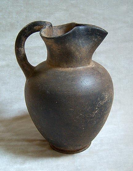 ANCIENT ETRUSCAN BLACK WARE TREFOIL OINOCHOE - 6th Century B.C.
