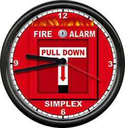 Fire Alarm System Department Captain Investigator Pull Down Sign Wall Clock NEW