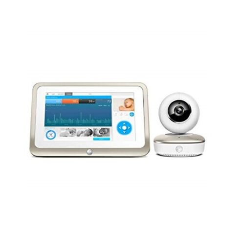 """Motorola Smart Nursery Wi-Fi 1080p Video Baby Monitor with 7"""" Screen White/Gold MBP877CNCT"""