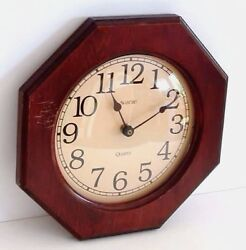 Wall Clock  Avante Octagon Quartz, Wood FRAME, 12 Hour, Home Decor Vintage