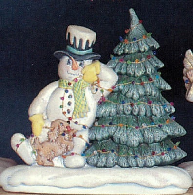 Ceramic Bisque Ready to Paint Snowman with Tree electric included