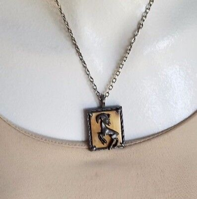 GOLD CROWN INC Signed Taurus Goat Ram Pendant Necklace Brass Pewter Zodiac VTG ()