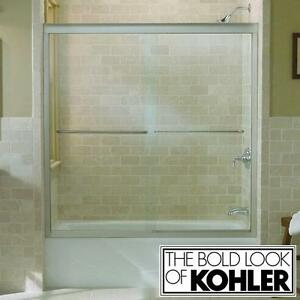 "NEW KOHLER FLUENCE BATHTUB DOORS - 120418987 - 59 5/8"" x 58 5/16"" SEMI FRAMELESS MATTE NICKEL CLEAR GLASS SLIDING BAT..."