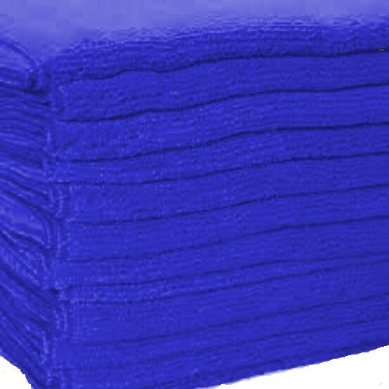 3 large blue microfiber towels new cleaning cloths bulk 16x16 manufacturers sale