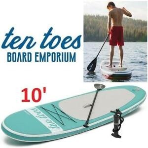 NEW TEN TOES 10' PADDLE BOARD 187012774 INFLATABLE PADDLEBOARD STAND UP W/PUMP  SEAFOAM