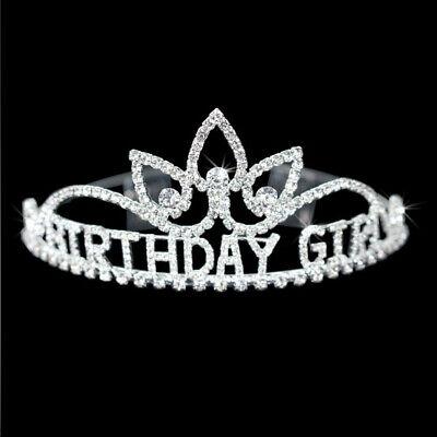 PRETTY BIRTHDAY GIRL SHAPE HAPPY BIRTHDAY CRYSTAL CROWN TIARA RHIESTONE JEWELRY (Happy Birthday Tiaras)