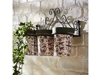 Garden Metal Wall Holder With Set of 3 Blue Aged Ceramic Pot Planters-New in Box