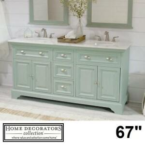 "NEW* SADIE 67"" DOUBLE VANITY COMBO 9673300350 137359893 HOME DECORATORS COLLECTION ANTIQUE GREEN CABINET MARBLE TOP B..."