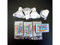 Colour changing spotlights x 4 with remote control x 4