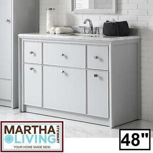 "NEW PARRISH 48"" VANITY COMBO - 134038659 - MARTHA STEWART DOVE GREY CABINET MARBLE TOP CABINETS VANITIES BATHROOM BATH"