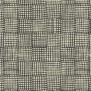 Maker Maker Grid Black on Natural Linen Cotton By the yard Boston Terrier