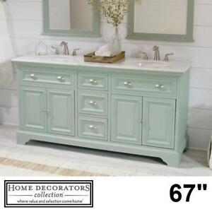 "NEW* SADIE 67"" DOUBLE VANITY COMBO 9673300350 145439539 HOME DECORATORS COLLECTION ANTIQUE GREEN CABINET MARBLE TOP B..."