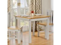 DiNING TABLE TWO CHAIRS 'LUDLOW ' PINE WHITE 80 x 80 BRAND NEW FLAT PACK