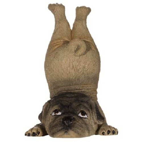 NWT Ganz Yoga Dog Pug Polystone Figurine Fun Cute Great Gift Brown Tan