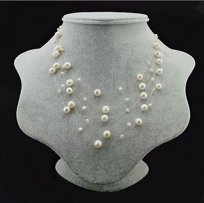 (Genuine Cultured Freshwater Pearl 2-8mm White Multi Strand Pearl Necklace)