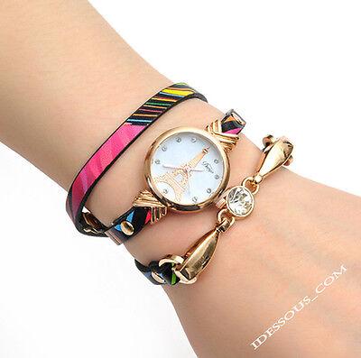 Armbanduhr Damen Designer Schmuck Freundschaftsarmband Gold Quarz Uhr FERANI 26€ ()