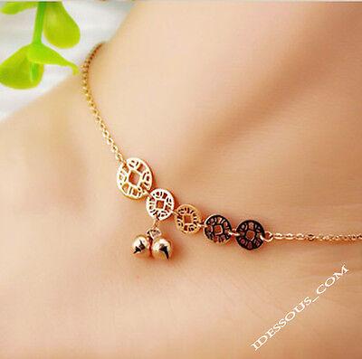 14K Goldkette Armkette Fußkette Münze Damen vergoldet für Frauen Sommer Schmuck ()