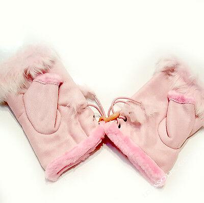 Fingerlose mit Futter Handschuhe Handstulpen warme Winter Fäustlinge Rosa Damen ()