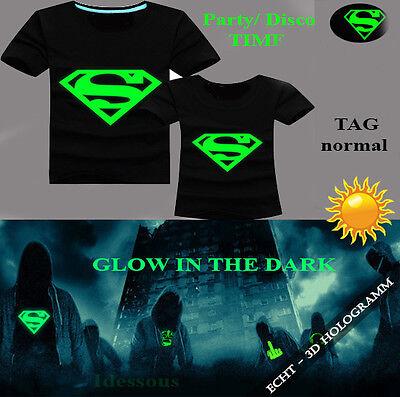 Cool 3D T-Shirt Herren Glow in the Dark Damen Disco Party Halloween Hemd XS S M ()