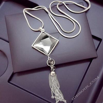 Damen Halskette Schmuck Collier Anhänger Silber lang Kette Mode Strass Luxus M25