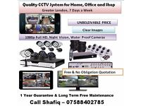 CCTV Installation (Greater London) Full HD 1080p, Night Vision, Waterproof Cameras- 7 days a Week