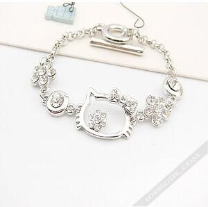 Hello Kitty SILBER Armband Armkette Zirkon Diamanten Schmuck Zirkonia FERANI