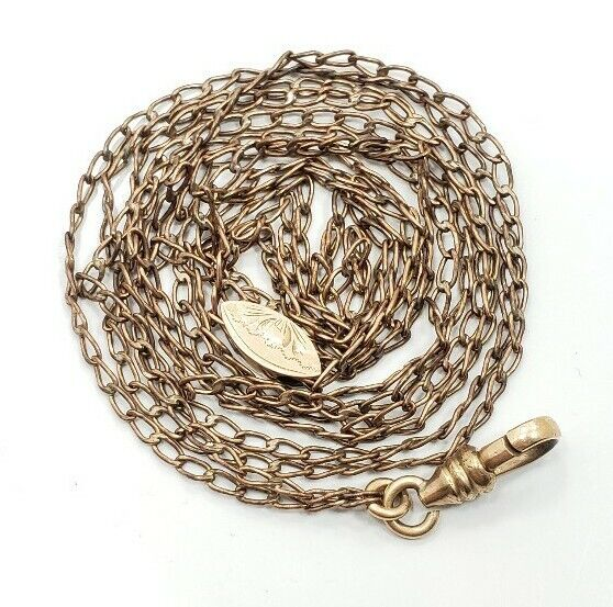 Great Vintage Victorian Yellow Gold Filled Long Slide Watch Chain Necklace