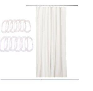 Ikea white shower curtains curtain 180x180cm bonus 12 for Curtain rings ikea