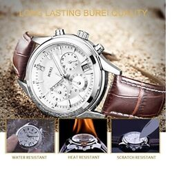 BUREI Chronograph Watch Analog Quartz with Scratch-resistant Mineral Crystal Lens Leather Strap