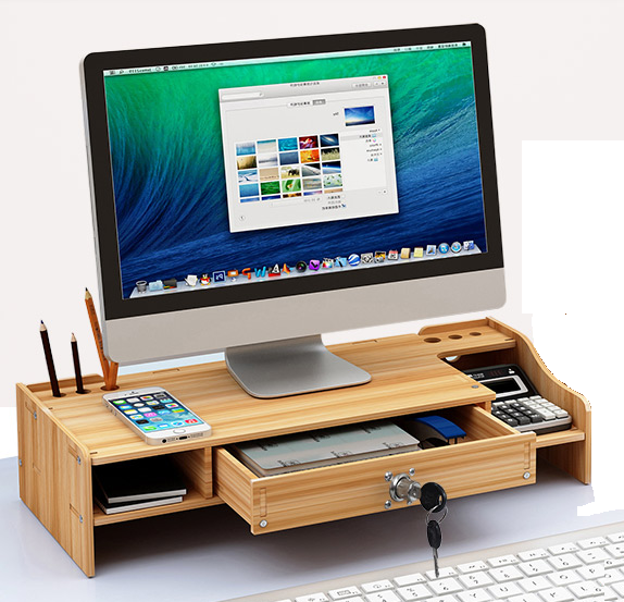 DIY Office Wood Desk Organizer Pen File Holder Storage ...