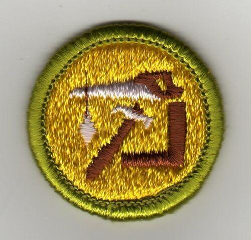 Woodwork Merit Badge, Type H, Clear Plastic Back (1972 - 2002), Mint!