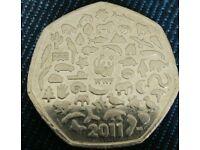 Rare british 2011 wwf 50 pence coin