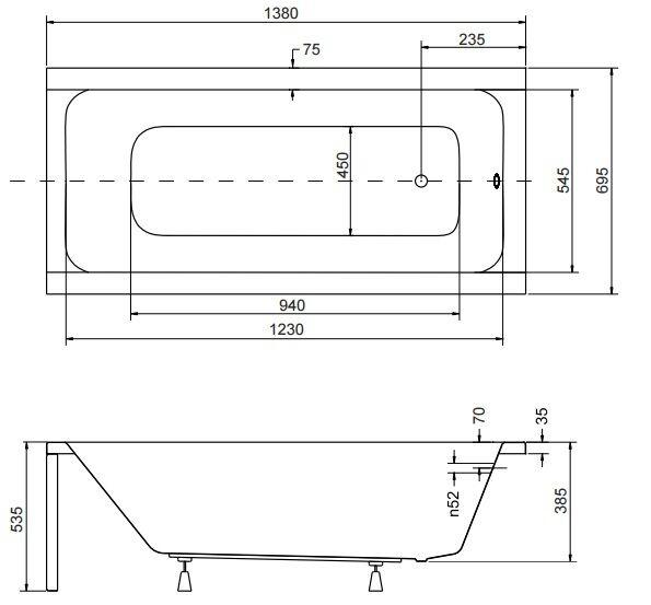 Badewanne Rechteck Acryl 120,130,140,150,160,170x70 Ablauf VIEGA Füße MODERN F 140x70