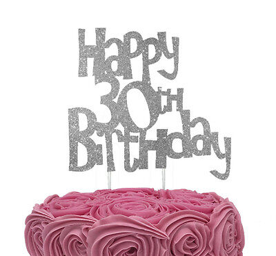 30th Birthday Cake Toppers (Happy 30th Birthday Cake Topper - Glittery Silver - 30th Birthday Cake)