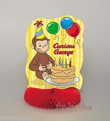 CURIOUS GEORGE HONEYCOMB CENTERPIECE ~ Birthday Party Supplies Table Decorations - Curious George Birthday Party Decorations