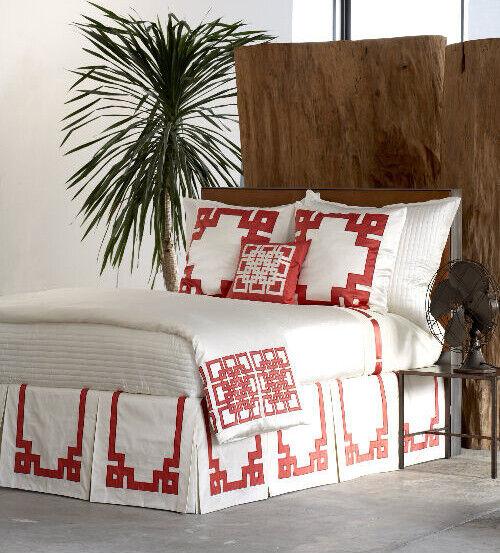 Ann Gish Mariana Applique Ivory / Poppy Red 100% SILK King Pillow Sham Bedding