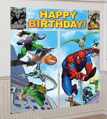 SPIDERMAN superhero Scene Setter HAPPY BIRTHDAY party wall decoration kit 6'