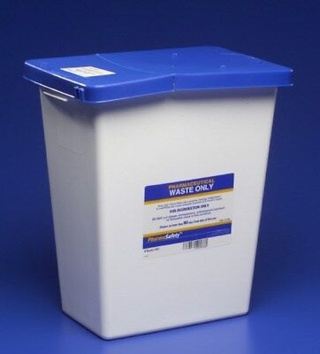 Pharmaceutical Waste Container 1775Hx11wx155d 8Gall White Base Hinged Lid Case10