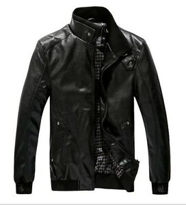 Hot-Sale Men's Stand-Collar Zipper PU Leather Long Sleeve Coat  Jacket 5 Size