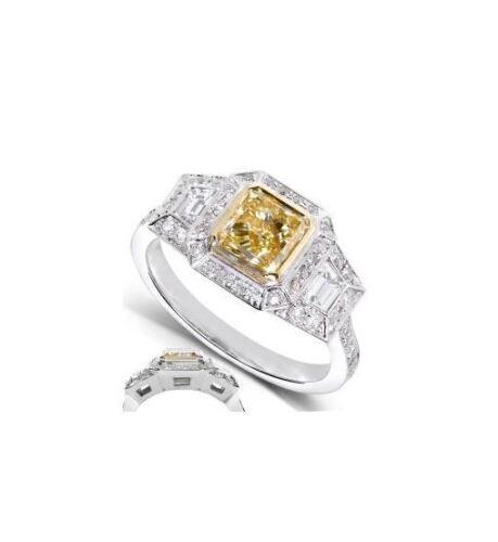 Fancy Yellow Cushion Diamond Engagement Platinum Ring GIA Certified 2.75 Carat 1