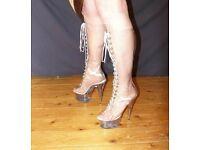 Transparent knee boots