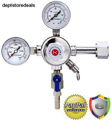 Kegco Premium Dual Gauge Co2 Draft Beer Regulator Pressure For Keg Tank Brass