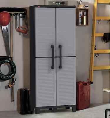 Outdoor Storage Cabinet Patio Furniture Plastic Shelves Bathroom Garage Lockable