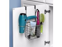 Spectrum Diversified Grid Tall Hair Styling Station, Over the Cabinet Door, Satin Nickel