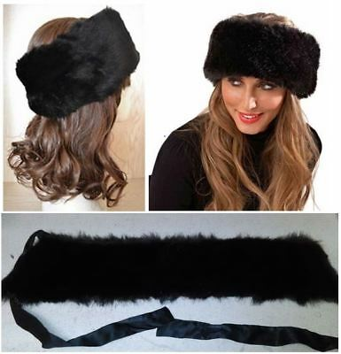 Faux Black Mink Hairband Tie-Back Fur Headband Earmuff - Russian Style Head Wrap