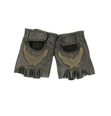 Lederhandschuhe Handschuhe fingerlos Fingerhandschuhe Größe M schwarz mit - Adler Handschuhe