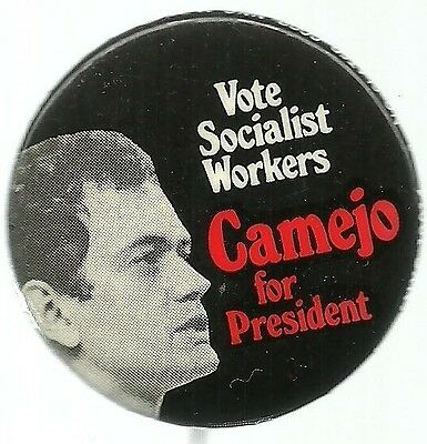 PETER CAMEJO FOR PRESIDENT SOCIALIST WORKERS PARTY POLITICAL CAMPAIGN PIN