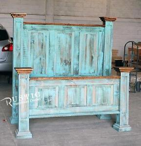 King rustic pine turquoise bed frame