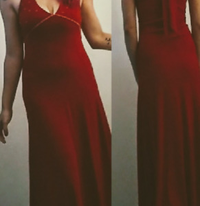 Lightly used long red halter dress.