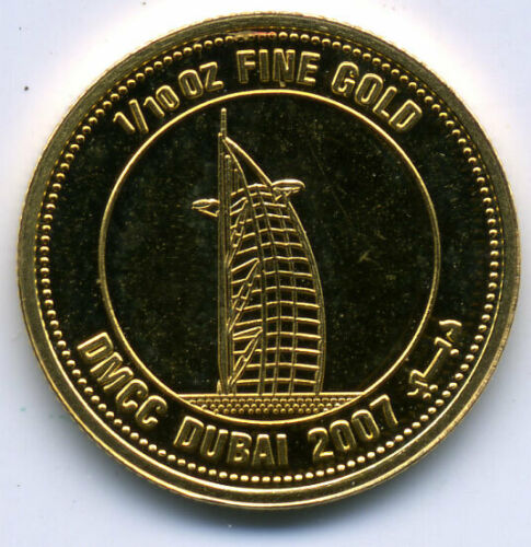 UAE 2007 VISIONS OF DUBAI 1/10 GOLD MEDAL PROOF